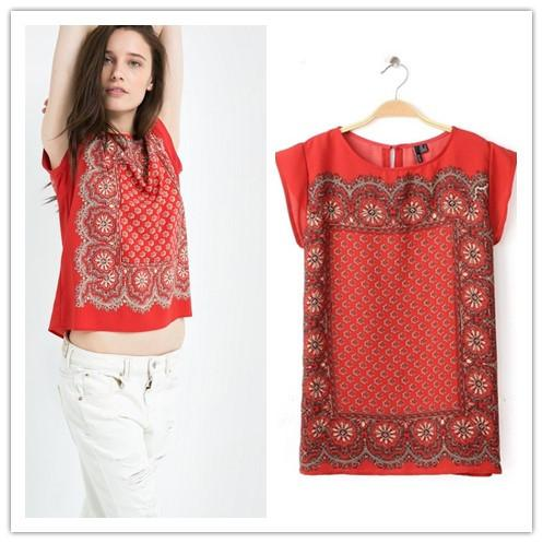 5b1d999d0 2015 Fashion Blouse Vintage Ethnic Floral Print O-neck Red Chiffon ...