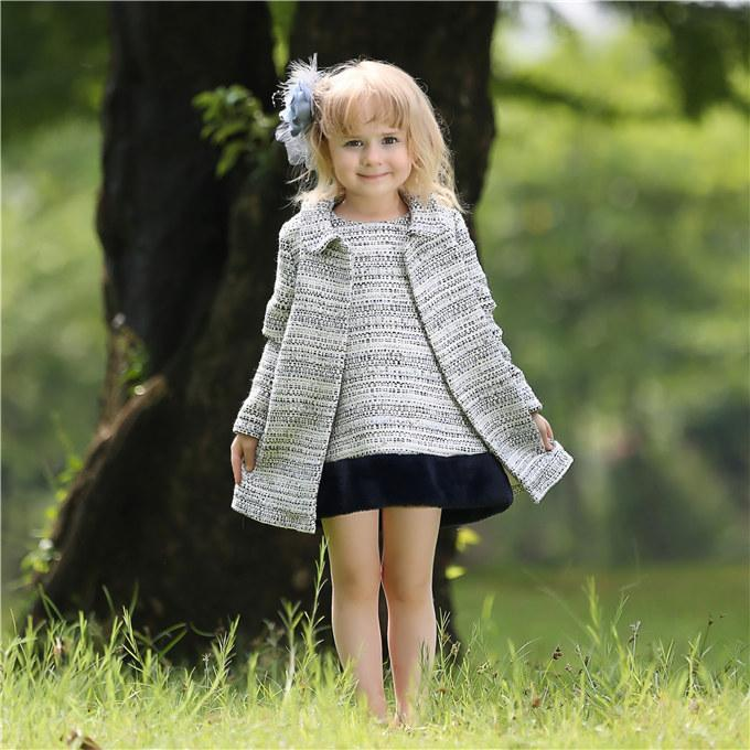 Pettigirl Retail Children Winter Girl Clothing Sets Grey Coat And Tank Dress With Fur Scarf Girls Outfits For Kids Clothing CS80727-3L
