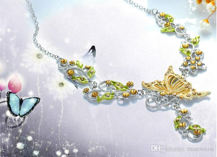 es Mujeres Flor de Mariposa Rhinestone Colgante Collar Llamativo Pendientes Conjunto de Joyas Joyería de Moda Vestido de Novia de Boda Conjuntos de Joyas