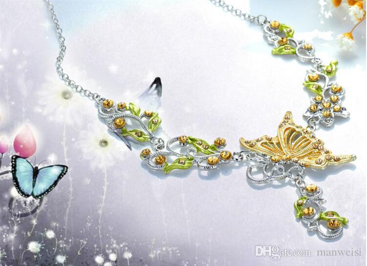 i donne farfalla fiore strass ciondolo dichiarazione collana orecchini gioielli set moda gioielli da sposa abito da sposa set di gioielli