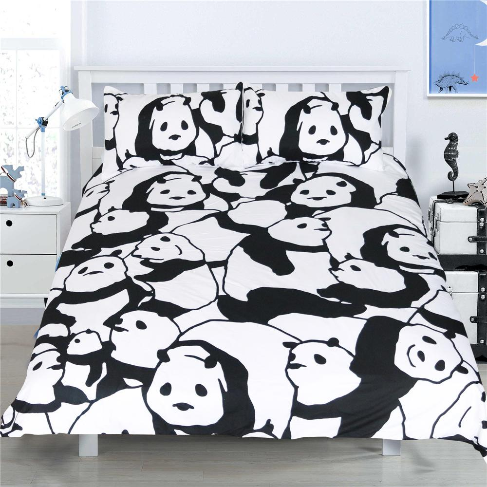 Cute Panda Printed Bedding Set Queen Size Chinese Cartoon