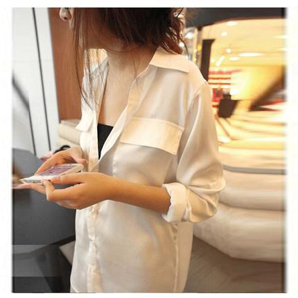 Beyaz gömlek ve uzun bölümler seksi kadın gevşek uzun kollu şifon gömlek çift cep