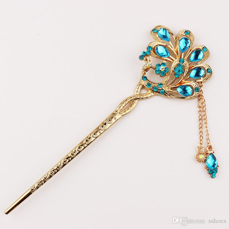 Bridal Wedding Jewelry Crystal Peacock Hair Stick Full Rhinestone peacock hair pin bridesmaid women party accessories hairpins