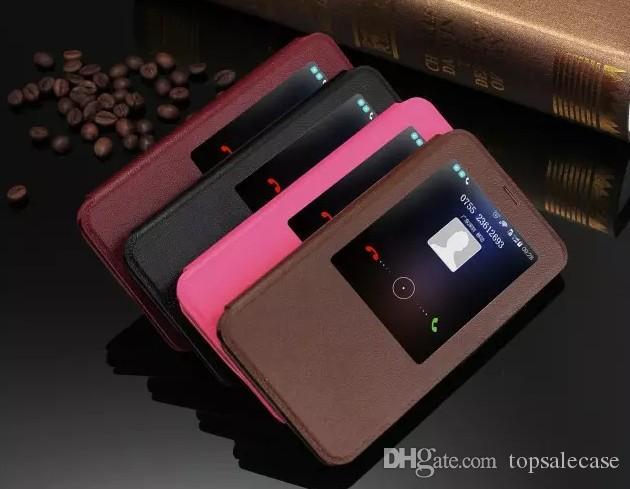 Meizu MX5 Için yüksek Sınıf Kılıf Arka Kapak Ultra-Ince Ince Hakiki Pencere Çevirme Meizu MX5 Için Lüks Orijinal Renkli Standı Sevimli Deri Kılıf