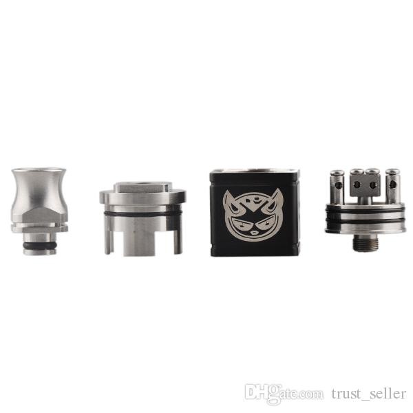 Hellhound Mod Kit with Cube Single 18650 Battery Hellhound Box Mod Square Hellboy RDA atomizer wide bore drip tips gift box