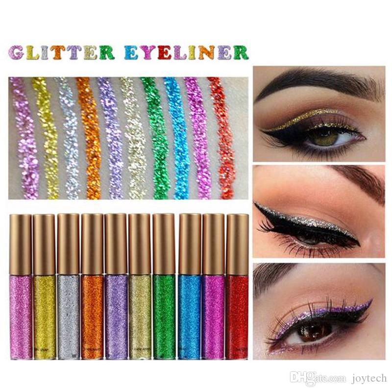 Maquiagem Glitter EyeLiner Brilhante Longa Duração Líquido Eye Liner Shimmer delineador de Olhos Lápis de Sombra com 10 cores para escolher