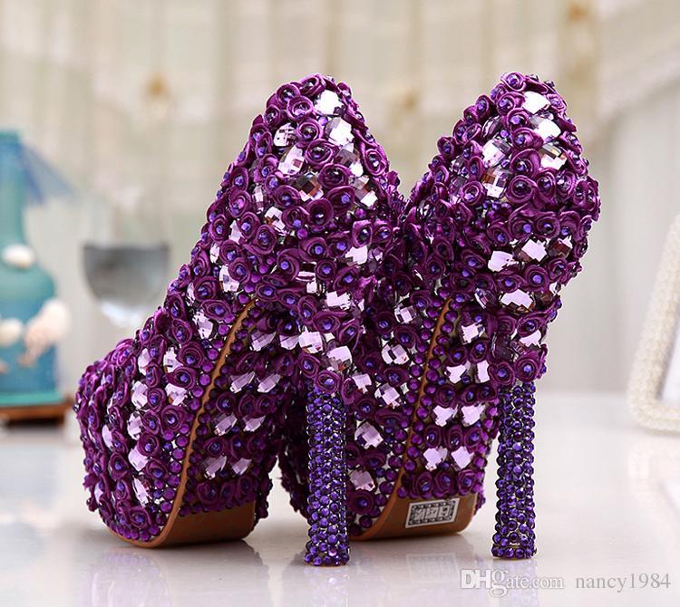Büyük Boy 11 Muhteşem Mor Kristal Platformu Topuklu Kadın Düğün Parti Elbise Ayakkabı Pompaları 5 Inç Düğün Buket Balo Ayakkabı