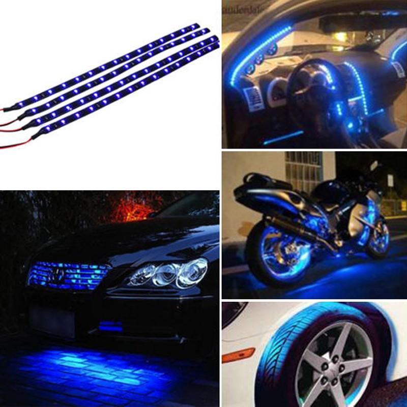 30CM / 15 LED Car Motors Camion Flexible Bande Lumière Étanche 12V 4 Couleurs Bleu Rouge Blanc Chaud / Blanc Livraison gratuite