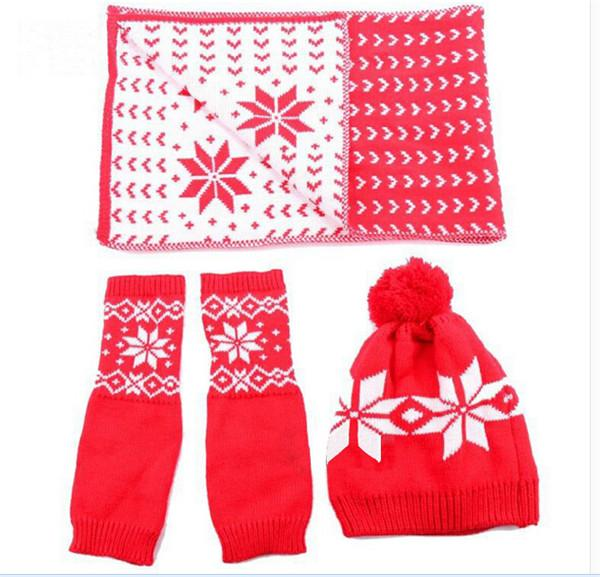 Tricot hiver gants de chapeau écharpe pour les femmes flocon de neige imprimer chapeau chaud ensemble / livraison gratuite