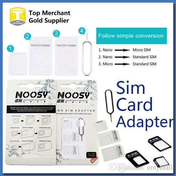S3 Sim Karte.4 In 1 Noosy Nano Micro Sim Adapter Auswerfen Pin Für Iphone 5 Für Iphone 4 4s 6 Samsung S4 S3 Sim Karte Kleinkasten