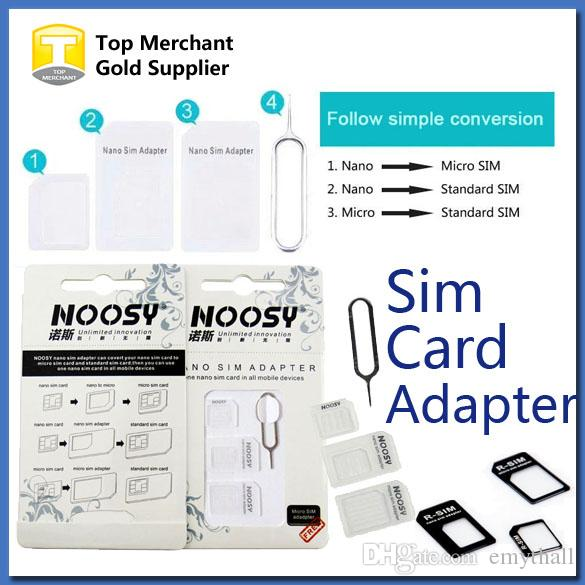 Cheap 4 In 1 Noosy Nano Micro Sim Adapter Eject Pin For Iphone 5 For Iphone  4 4s 6 Samsung S4 S3 Sim Card Retail Box Sim Card Cutter Template Simcard  Cutter ...