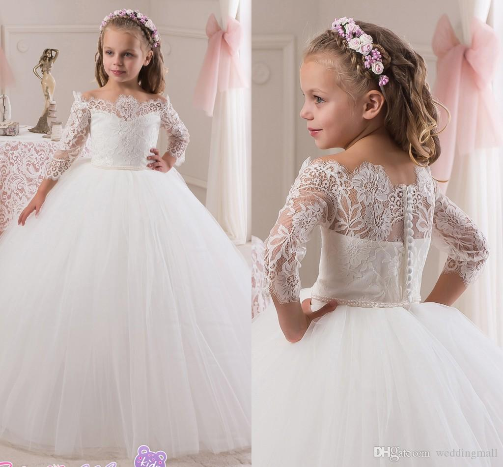 2016 lace 3/4 long sleeves pearls tulle flower girl dresses