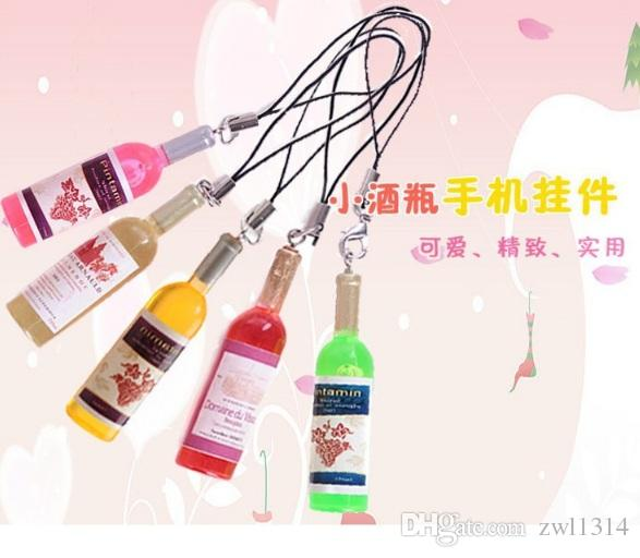 Small wine bottle wine cell phone pendant key chain key ring beer bottle creative Korea jewelry gifts gifts dhl