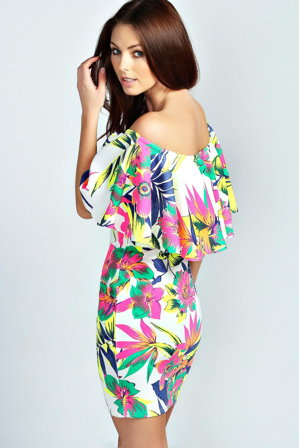 New 2014 Tropical Pattern Frill Top Bodycon Print Dress