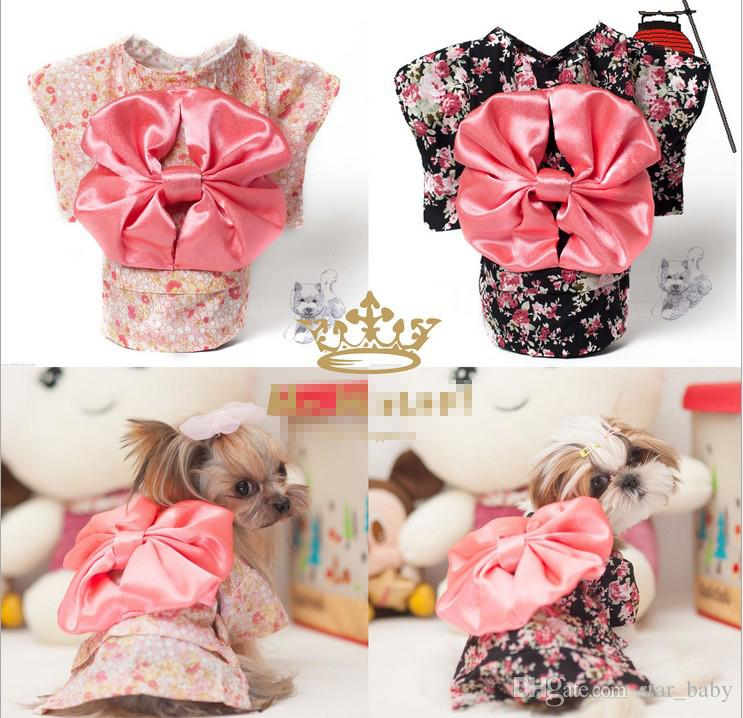Puppy Dog Pet Hoodie Clothes Japanese Kimono Big Bowknot Flower Hiyoku Dogs Doggy Doggie Cats Hooded Apparel Xmas Gift Pink/Black K2413