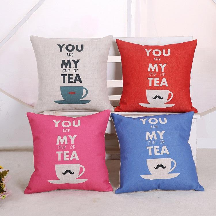moustache cup sofa cushion covers linen cotton you are my cup of tea