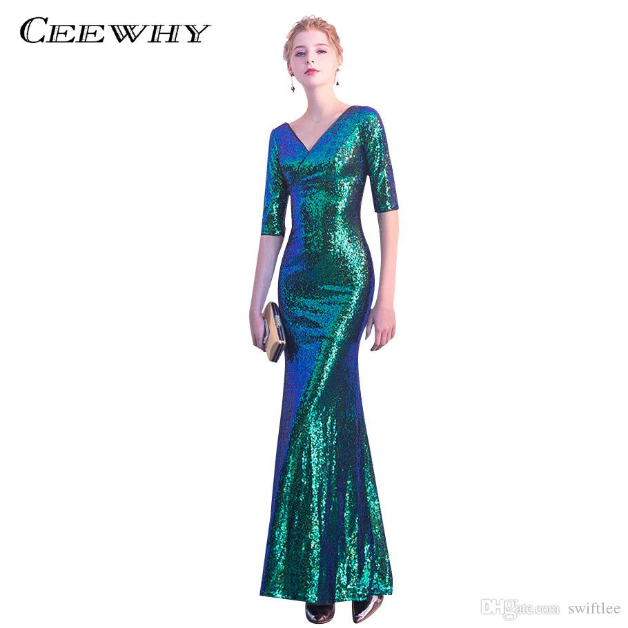 CEEWHY Half Sleeve Luxury Mermaid Long Evening Dresses Sequined Prom Dress  Robe De Soiree Green Evening Gowns Long Formal Dress Vintage Style Evening  ... b0deb49fe8e6