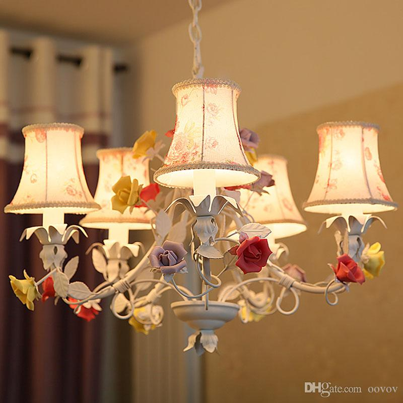 Living Room Hanging Lights discount fabric flowers living room chandelier romantic pastoral