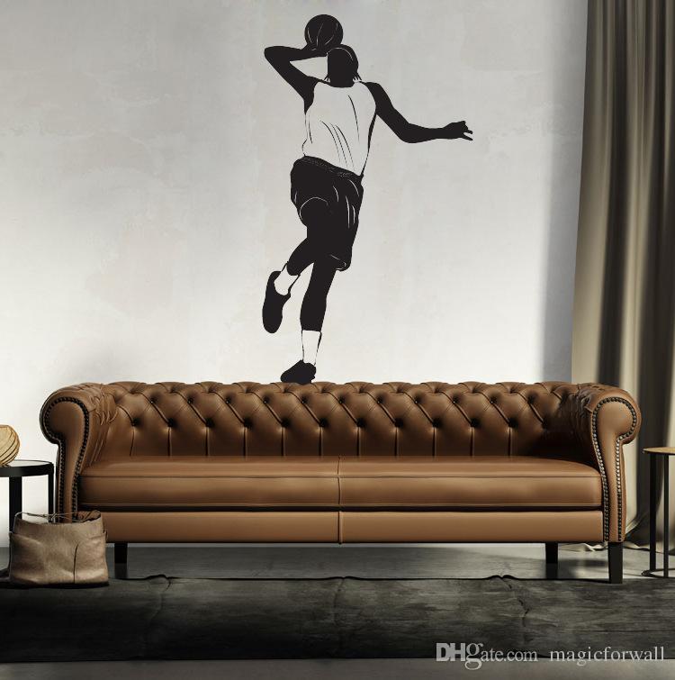 Poster Jogador de basquete Wall Art Mural Decor Sport Boys Decoração Início Wallpaper Decor autocolante arte Applique