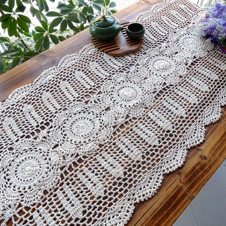 Cotton Crochet Flower Table Runner For Home Decor Table Cover As