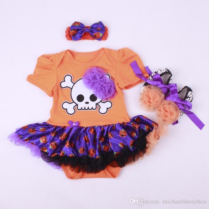 EMS 10 Design baby Christmas/Xmas rompers suit 2015 new Skull head pumpkin girl Short sleeve rompers Hair band shoes baby dress B001