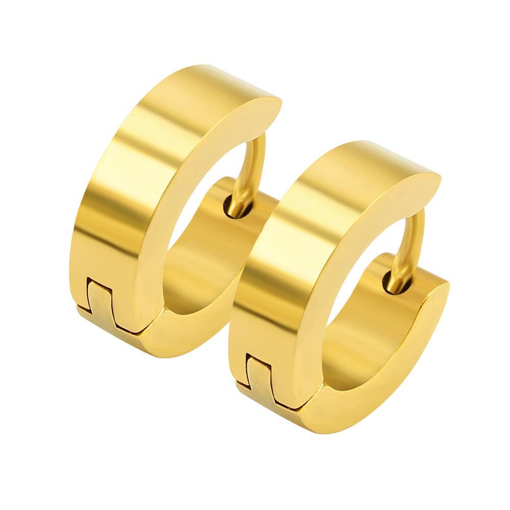 2019 hoop earrings gold color man stainless steel huggies small hoop
