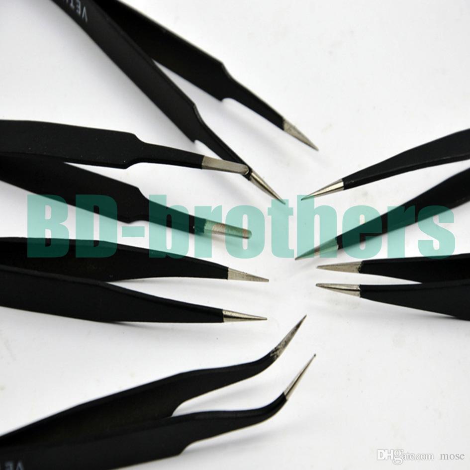 Negro pinzas VETUS HRC40 antiestática de acero inoxidable Nipper ESD 10 11 12 13 14 15 para reparación de teléfonos Repairment Mend Tools 120 unids