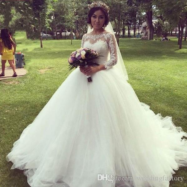Prinzessin Ballkleid Brautkleid Sheer Bateau Neck Spitze Appliques Tüll Hochzeitskleid mit Illusionshülsen Puffy Rock mit Zug