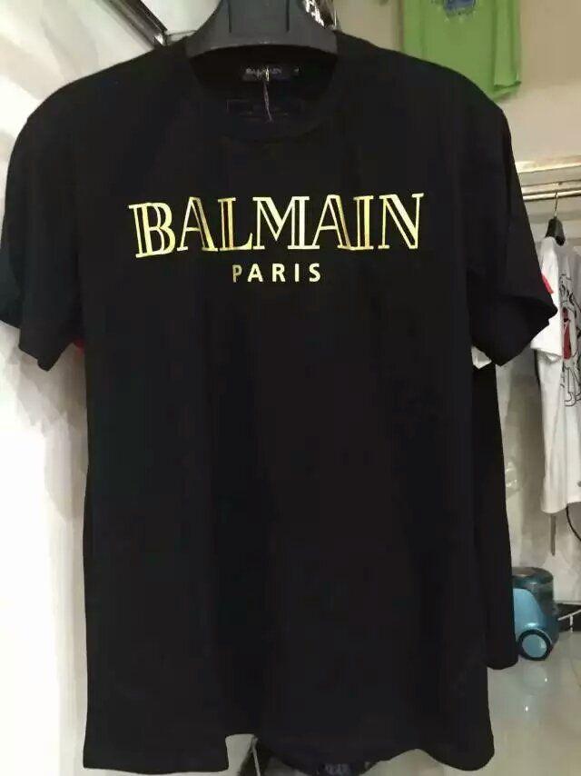 2016 summer balmain pairs men 39 s basic logo print t shirt for Balmain white logo t shirt