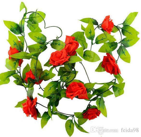 240 cm faux soie Roses Ivy Vigne Fleurs artificielles avec des feuilles vertes pour la décoration de mariage à la maison Hanging Garland Decor
