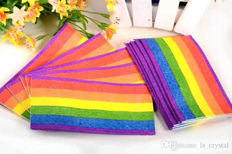 Farbregenbogen-Papierservietten-Gewebe 3 Schichten, die Taschentücher-Tuch-Hochzeitsfest-Geschenk falten, bevorzugt online SD901