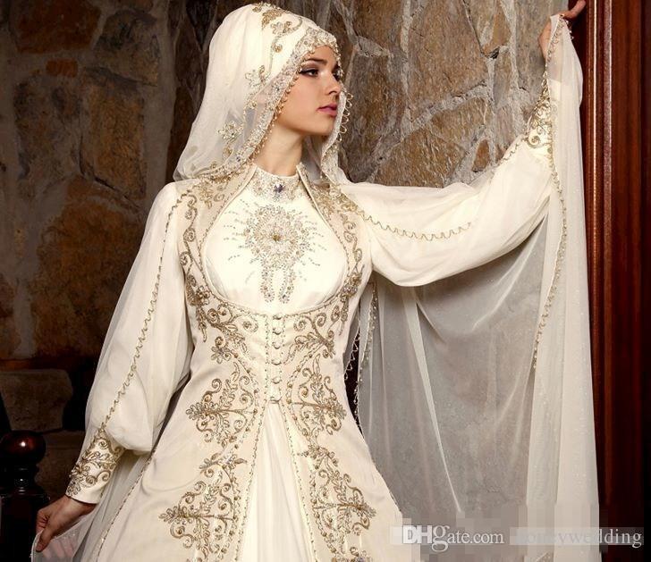 Mütevazı Giyim 2019 Uzun Kollu Ile Arapça Müslüman Gelinlik Yüksek Boyun Altın Nakış Boncuk Lüks Gelin Balo Ile Pelerin