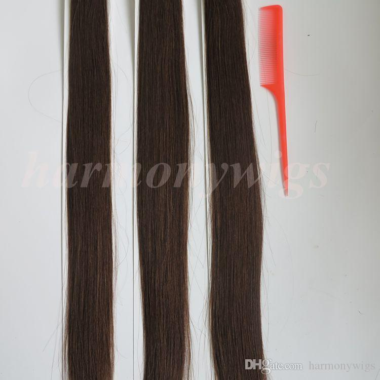 Pre bonded I Tip Brazilian human Hair Extensions 100g 100Strands 18 20 22 24inch #4/Dark Brown Indian straight Hair products
