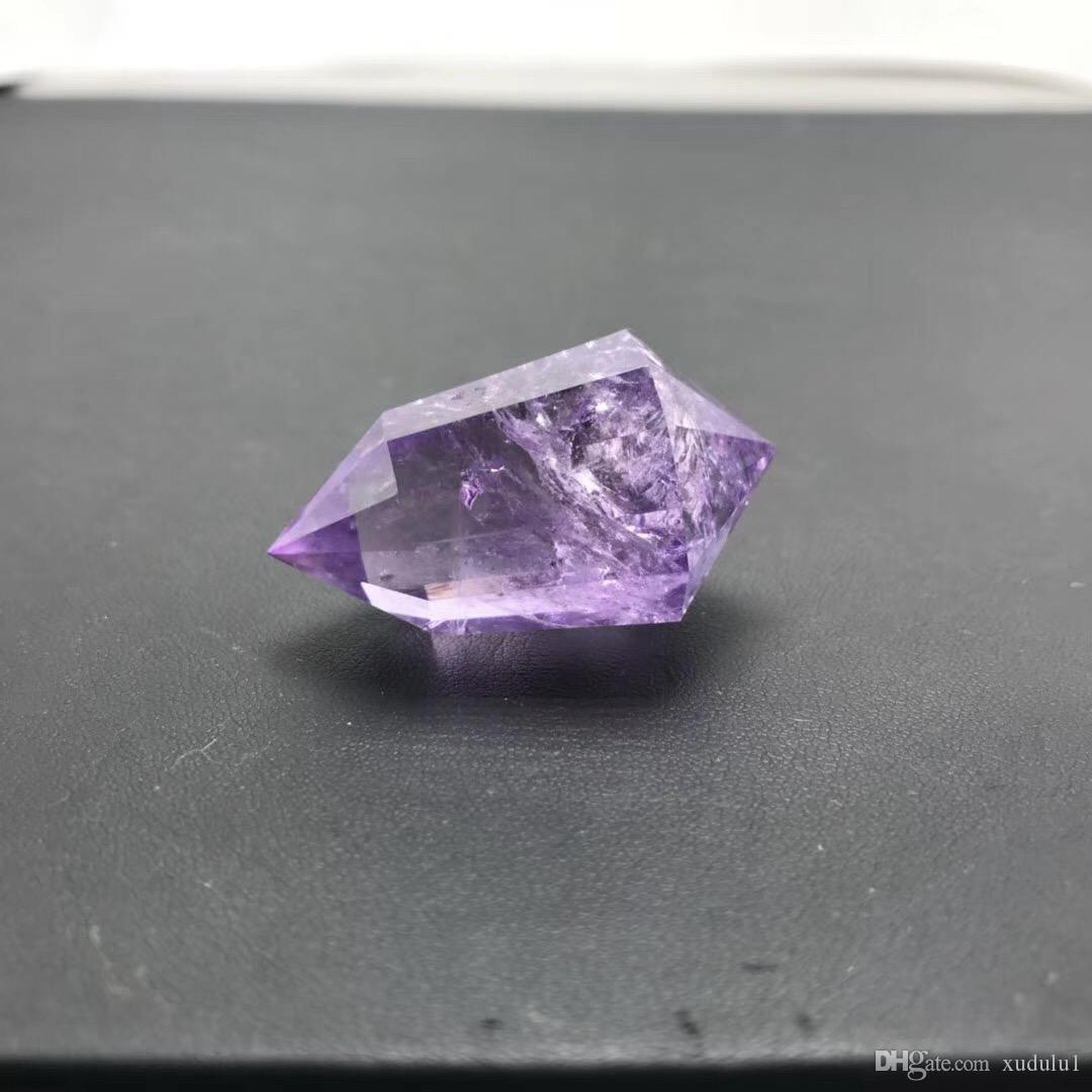 about 20g Natural 12-Faced Colored Violet Amethyst Wand double Point Healing