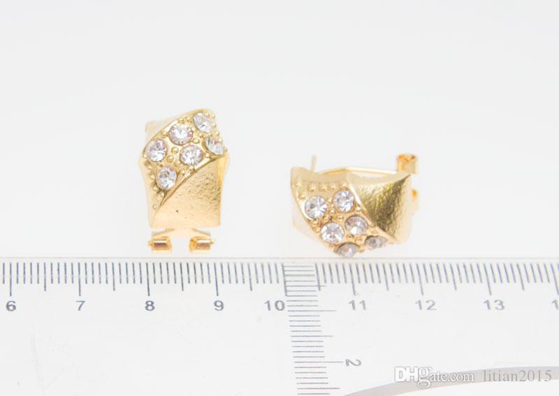 Frete grátis africano banhado a ouro charme moda romântico nupcial moda colar de cristal mulheres do vintage traje jewlery conjuntos