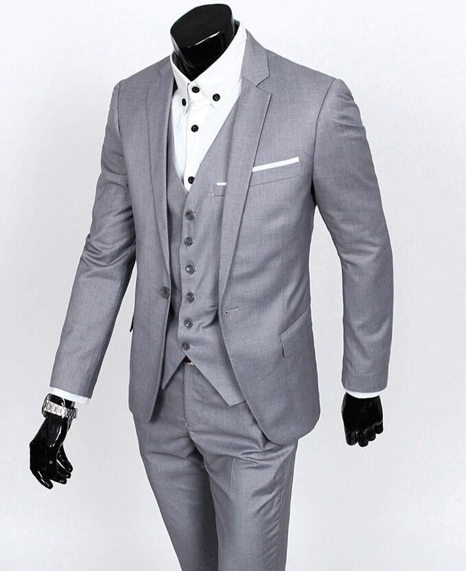 Custom Made Slim Fit Tuxedos Groom Gris clair Meilleur homme Costume Cran Revers Groomsman Hommes Costumes De Mariage Époux Veste + Pantalon + Cravate + Gilet