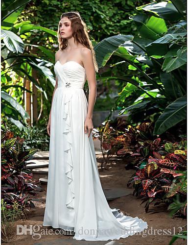 2016 New Fashion Popular Ivory Sweep/Brush Train Sweetheart Chiffon Sheath/Column Outdoor Wedding Dresses 164