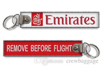 Emirates Havayolları Uçuş Ekibi Önce Kaldır İşlemeli Kumaş Anahtarlık Havacılık Etiketleri 139x31mm 100 adetgrup