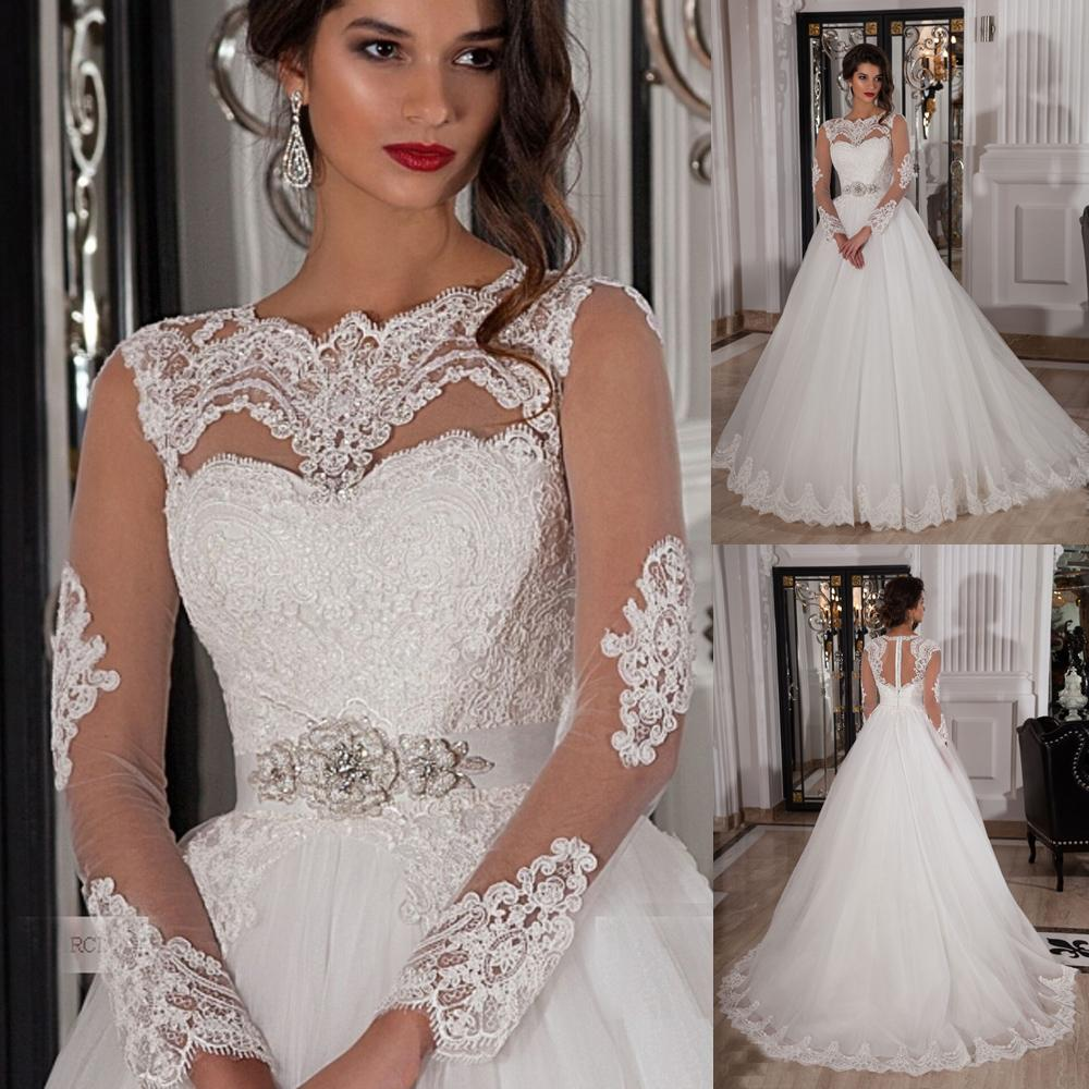 Ivory Lace Bodice Ball Gown Wedding Dress With Sheer Long: 2015 Women Sheer Long Sleeve Bridal Dresses Lace Crystal