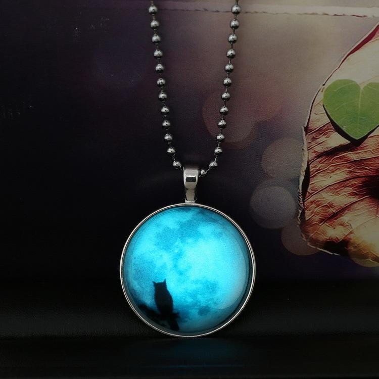 Noite Coruja Brilho no Escuro Pingente Colares Brilhando Charme Cadeia De Aço Inoxidável Tempo gem Luminous jóias De Vidro Cabochão Declaração Do Vintage