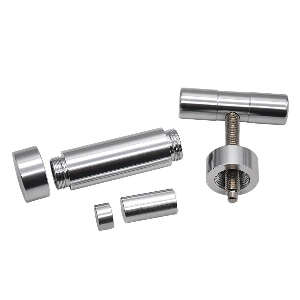 Neues Design T-förmige Pollenpresse Kompressor Crush Herb Grinder Hand Muller Hochleistungs Tinktur Brecher Silber Farbe
