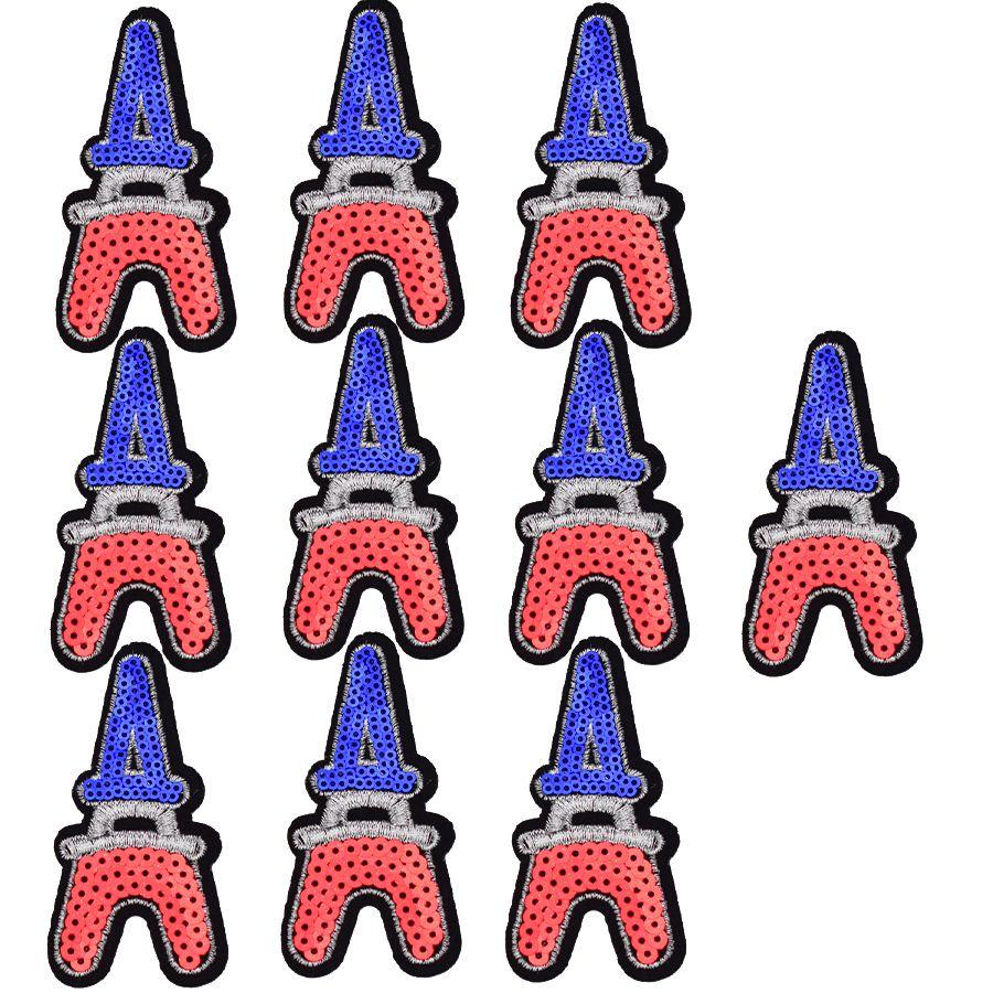 10 UNIDS Torre Eiffel Con Lentejuelas Parches para Ropa de Hierro en Transferencia Parche Apliques para Bolsos Jeans DIY Coser en Lentejuelas Bordado