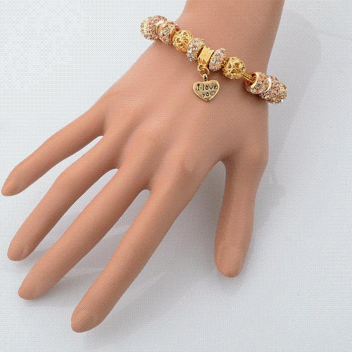 b9088571e ... 2018 2015 High Quality Charms Beads Fit Pandora Bracelet 925 Silver Gold  Beads Fashion Bracelets Amp . ...