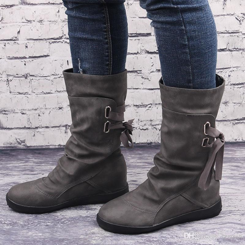 Large size womens shoes belt buckle in the boots after the tie flat with boots female. XZ-062