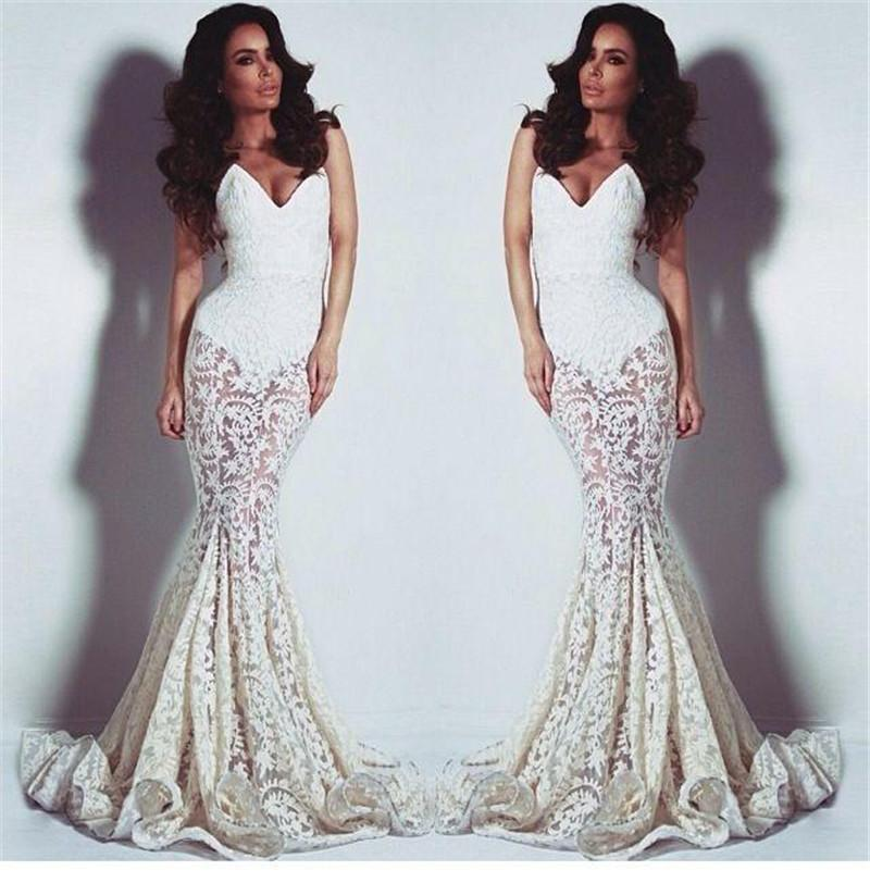 Lace See Through Prom Dresses 2015 Summer Beach Sweetheart Low Back ...