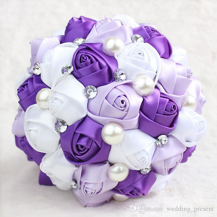wedding bouquets for cheap purple bridal bouquet pearls 8511