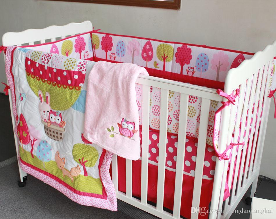 cotton baby bedding set embroidery 3D Hot air balloon rabbit fox owl quilt bedskirt bumper blanket crib bedding set