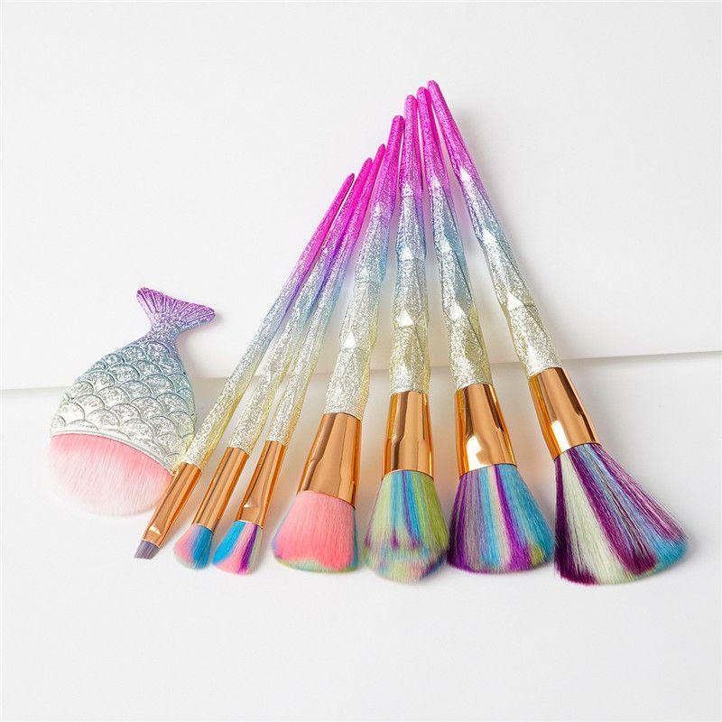 Mermaid Makeup Brushes Set Diamond Rainbow Big Fish Tail Cosmetics Eyeshadow Foundation Brush Beauty Tools Multipurpose Make up Brushes