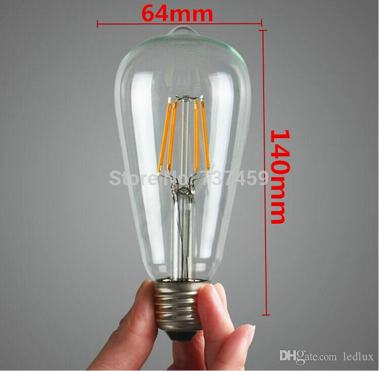 ST64 عكس الضوء اديسون ضوء لمبة بقيادة مصباح E27 AC220V 2W 4W خيوط أدى لمبة أضواء 360 درجة دافئ أبيض E27 ST64 لمبة أضواء