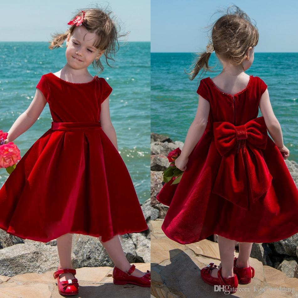 Lovely Girls Pageant Dresses Red Velvet Cap Sleeves Mid Length ...